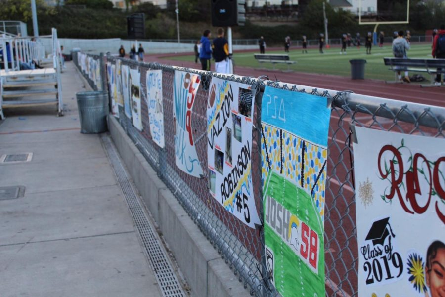 Posters made for every senior on the team hung up on the fence for fans to see