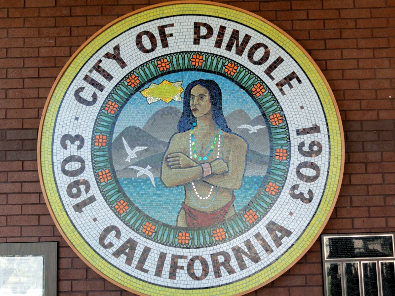 This the official seal of the City of Pinole in a mosaic displayed at City Hall.