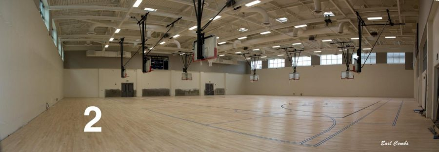The gym with striping.