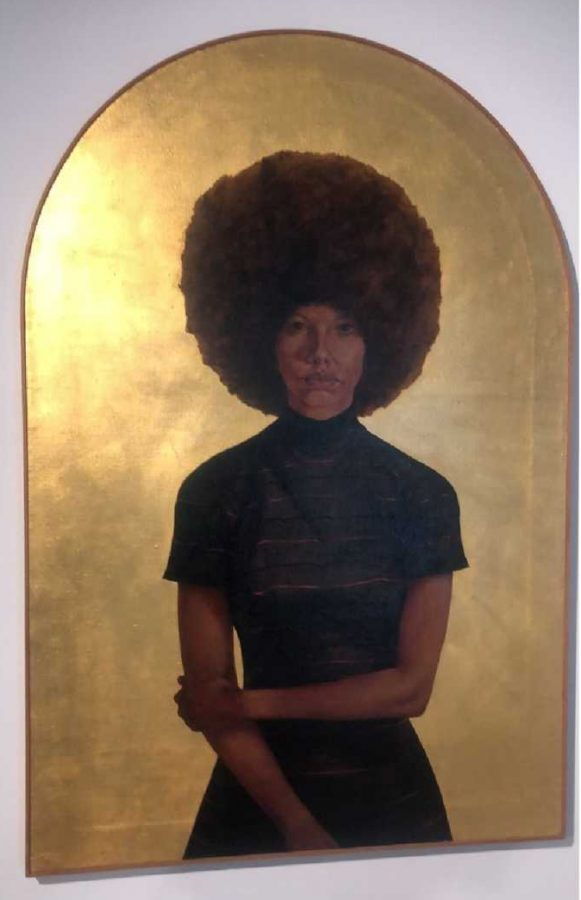 "Another painting that caught my attention was ""Lawdy Mama,"" by Barkley L. Hendricks. In the 1960s, Hendricks grew admiration for portrait paintings from Europe, but he quickly realized something-- none of the paintings were of people of color. Inspired by the Black Power Movement, Hendricks decides to create his own artwork, but instead of painting famous figures, he chose to give light to the underrepresented. At this time, Hendricks paints a portrait of a black woman to empower that specific group who are often not represented in such works."