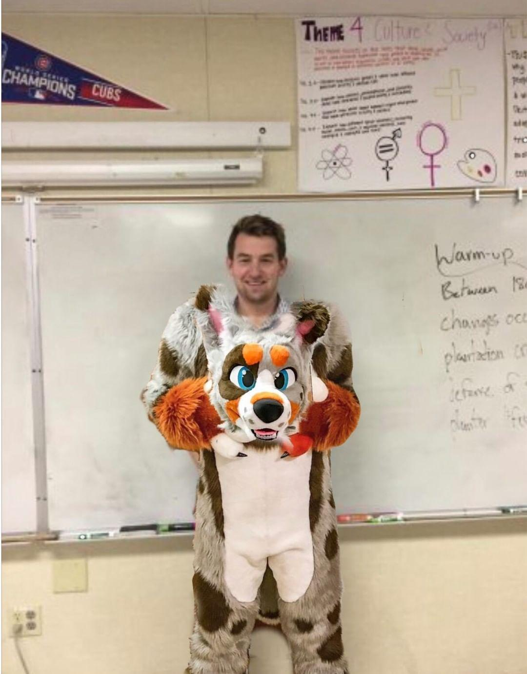 The now famous photoshopped image of Mr. Frattini in furry costume.
