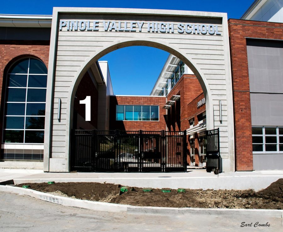 PINOLE VALLEY HIGH SCHOOL installed on the entrance archway