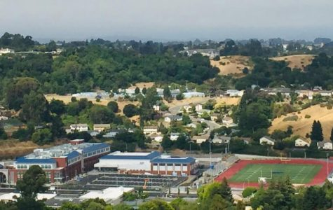The new campus and the football field. The edge of the old campus in on the right.