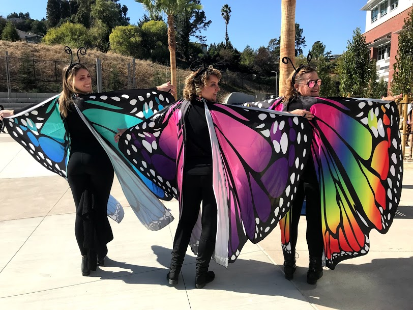 Ms. Deinhart, Ms.Dibble, and Ms. Blades,  all paired up to dress as beautiful butterflies