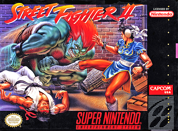 The box art for the Super Nintendo release of the original Street Fighter II.