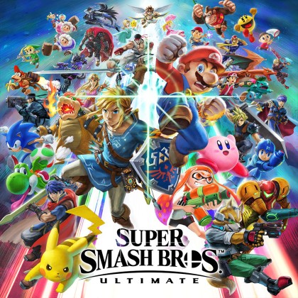 The official box art for Super Smash Bros. Ultimate video game.