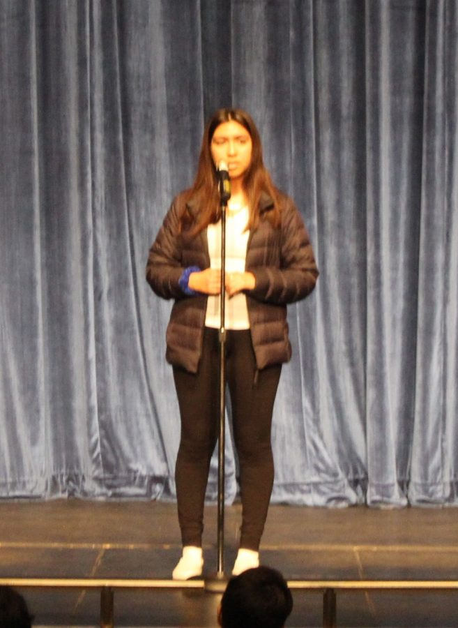 Glendy+Jimenez%2C+a+sophomore+at+PVHS%2C+competes+in+the+Poetry+Out+Loud+all-school+final+competition.+