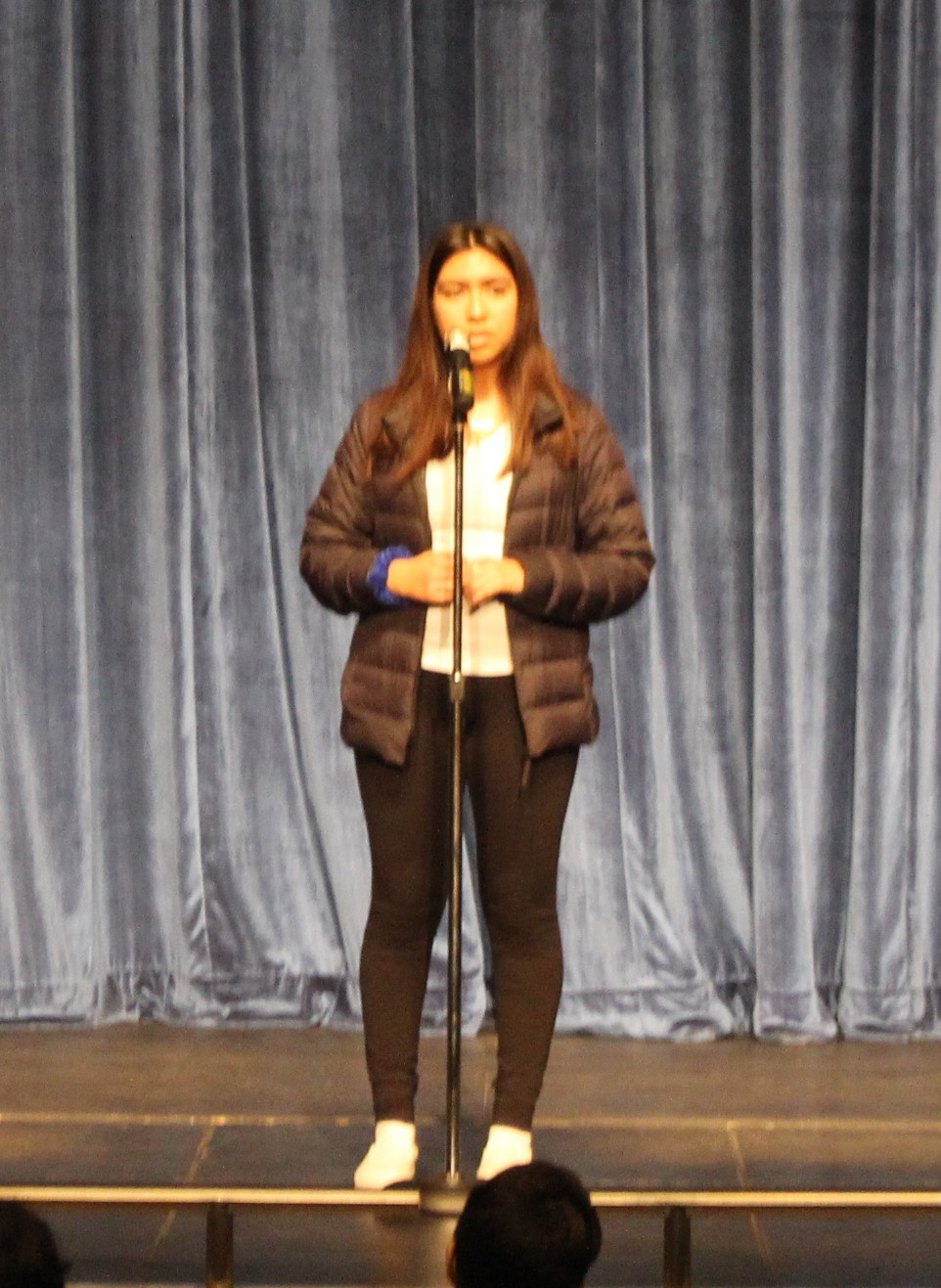 Glendy Jimenez, a sophomore at PVHS, competes in the Poetry Out Loud all-school final competition.