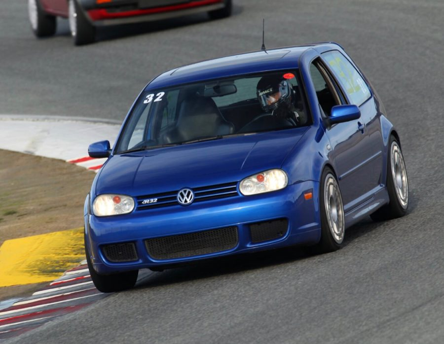PVHS junior Ryan Tomas driving his father's VW R32 around Laguna Seca Raceway.