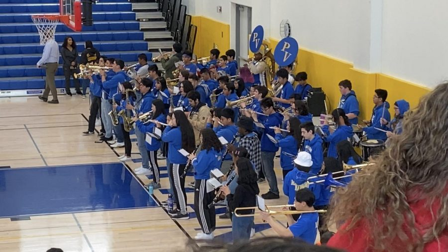 The Pinole Valley High School band performing some tunes.