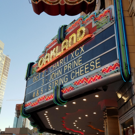 Charli XCX's name on the marquis outside Fox Theater.