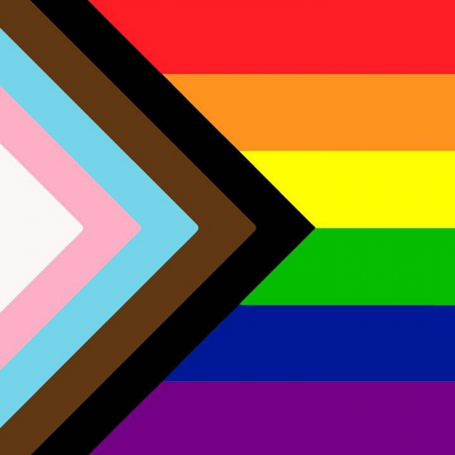 The+progress+Pride+flag%2C+which+combines+elements+of+the+original+Pride+flag+with+the+transgender+Pride+flag+and+the+brown+and+black+stripes+representing+Queer+people+of+color+and+is+intended+to+bring+awareness+to+these+often+erased+communities.