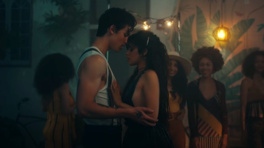 """Cabello and Mendes in the music video for """"Señorita""""."""