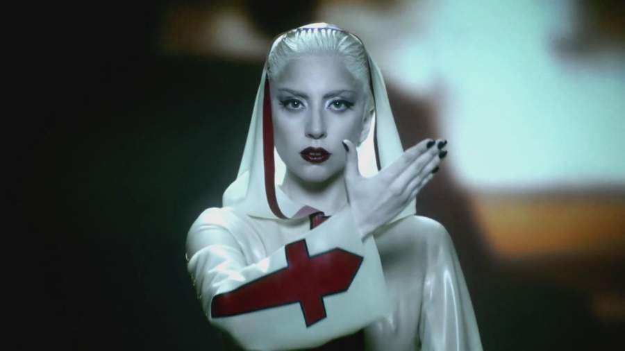 "Gaga in the music video for ""Alejandro""."