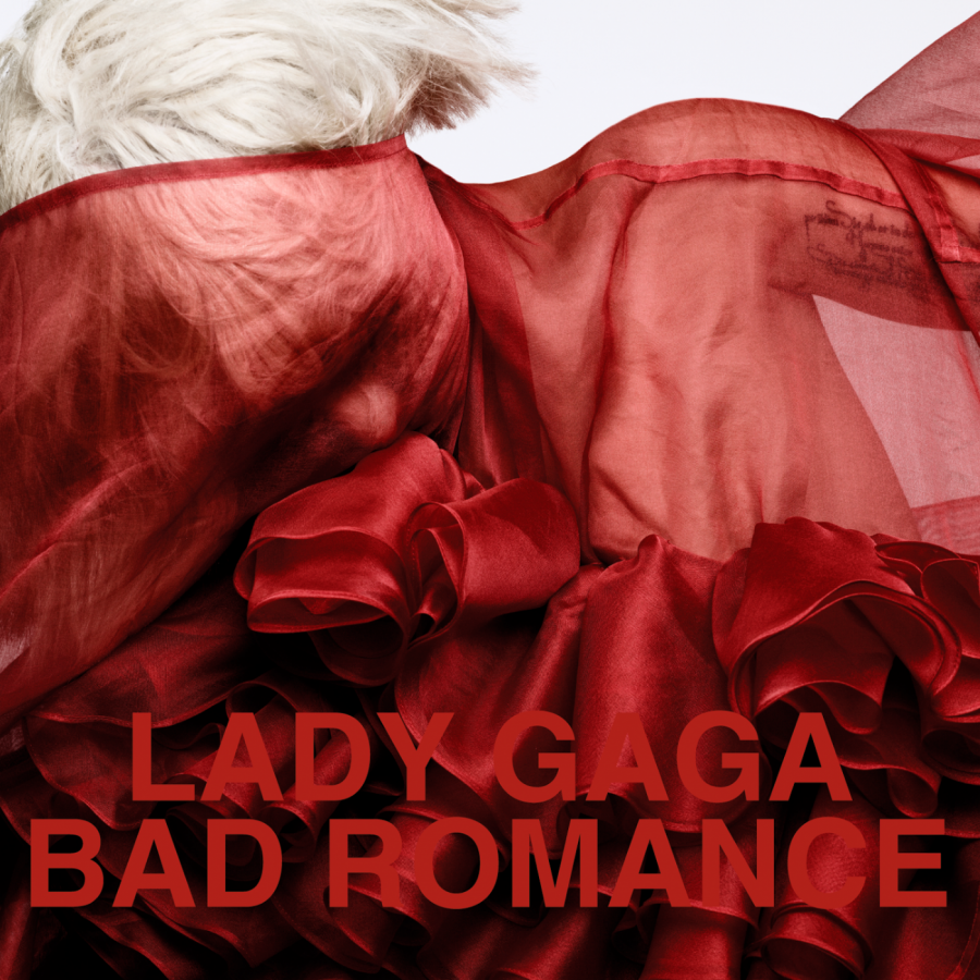 "The cover of the lead single, ""Bad Romance""."