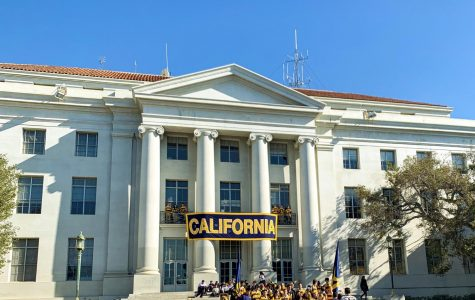 Students gather at Sproul Hall before game weekend, pre-pandemic on November 15, 2019.