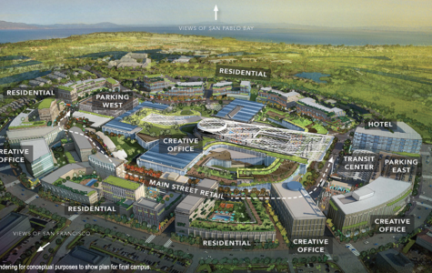 Proposed vision for Hilltop By The Bay touting a mixed-use development.